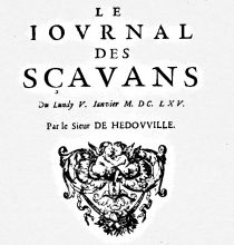 Le Journal des sçavans, Paris, 1665